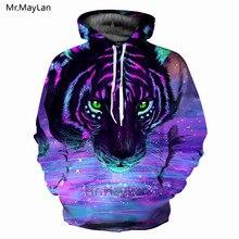 """3D spausdinimas """"Animal Tiger Head"""" """"Purple Hoodies"""" vyrų moterys """"Hipster"""" su kapinėmis pinti kostiumai """"Hip Hop"""" """"O-neck"""" Streetwear Top 2018 markės drabužiai"""