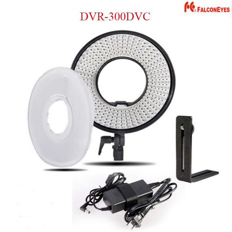 FALCON EYES DVR-300DVC 300 Ring LED Panel 5600K Lighting Video Film Continuous Light with Adapter Diffuser for Nikon Canon DSLR видеокамера rekam xproof dvc 380 silver