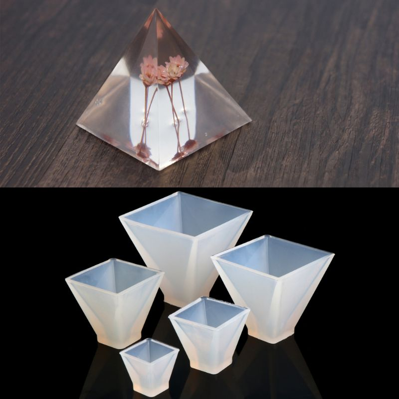 145pcs Casting Molds Kits Silicone Pyramid Disposable Plastic Cups Gloves Screw Eye Pins Stirrers Droppers For Resin Epoxy