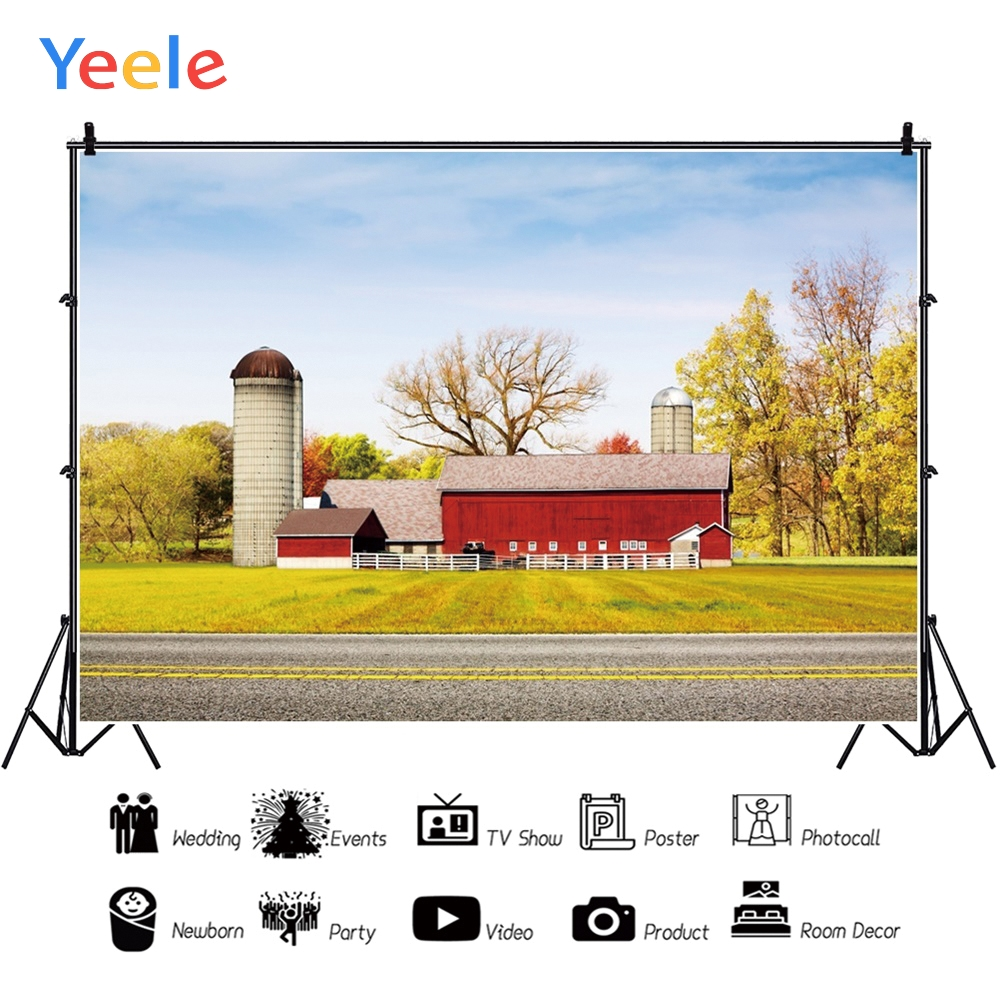 Yeele landscape Blue Sky Nice Villa Soft Gold Lawn Photography Backdrops Personalized Photographic Backgrounds For Photo Studio in Background from Consumer Electronics