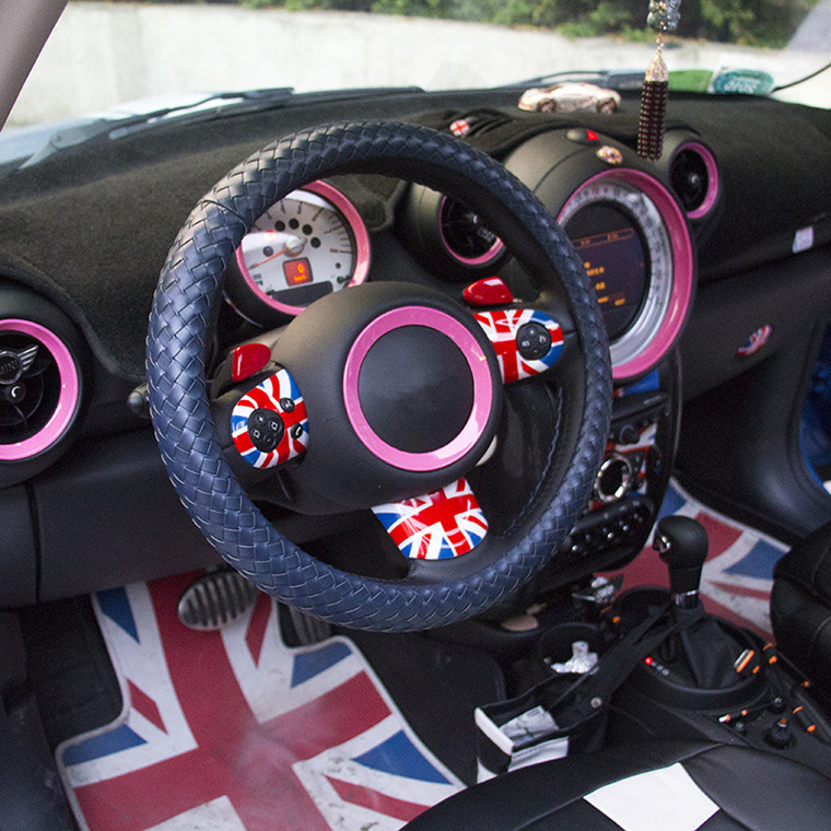 British Fashion Handmade Braided Soft Leather Car Steering Wheel Cover Case for Mini Cooper F55 F56