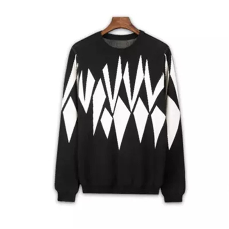 New Fashion Pure Cashmere Knit Men Oneck Patchwork Loose Thick Pullover Sweater Black 2color S-2XL