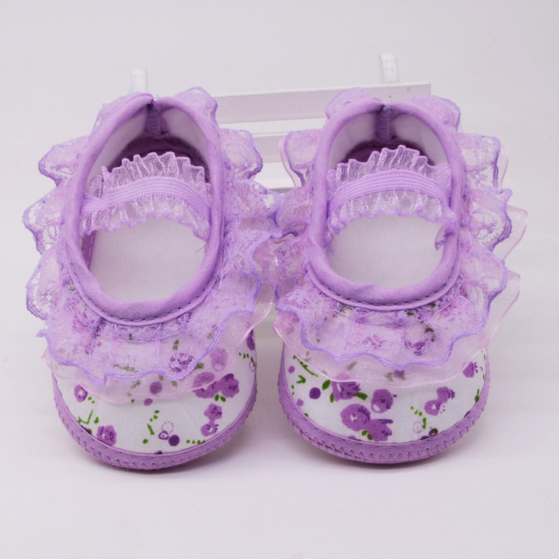 WEIXINBUY Baby Girls Shoes Cute Cotton Cotton Anti-skip Sole Shoes For Baby Toddler Shoes Lace Flowers Footwear