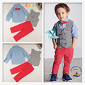 2016 Spring &Autumn Kids Boys Clothing Set Light Blue Shirt With Bow+Gray Vest+Red Pants 3 Pieces One Set Ensemble Garcon 2T-7T
