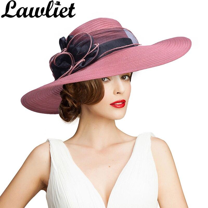 cbb83b4c37c Women Wide Brim Summer Hat Organza Ribbon Floral UV Protection Beach Sun  Cap Ladies Hat for Holiday Church Kentucky Derby FloppyUSD 18.66 piece ...