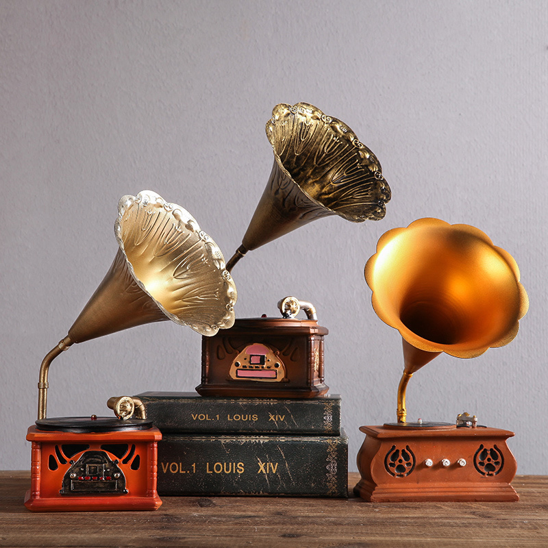 Vintage Phonograph Model Player Prop Antique Gramophone Model room decoration accessories Office Club Bar Decoration Ornaments
