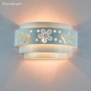 Image 1 - Modern duvar lambaları Minimalist kelebek çiçek oyma LED e27 duvar lambası, beyaz stereoskopik demir kapak ayna ön/yatak odası takımları