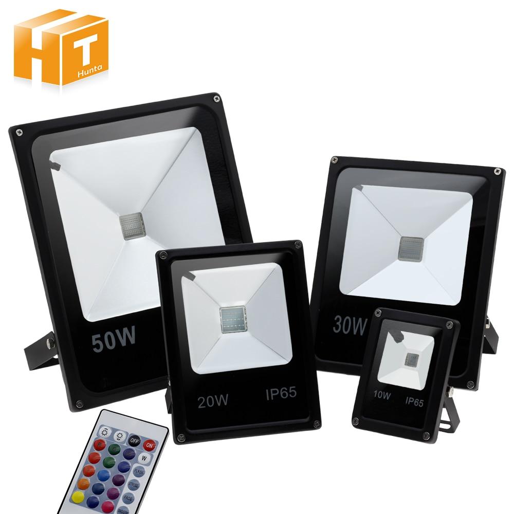 RGB LED Spotlight AC220V 10W 20W 30W 50W FloodLight with 24Key IR Remote IP65 Waterproof Outdoor Landscape Lighting.