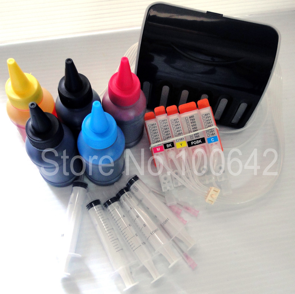 5 color + CISS ink cartridge PGI-650 CLI-651 for Canon PIXMA MG5460 IP7260 MG6360 + 5 Bottle Dye ink