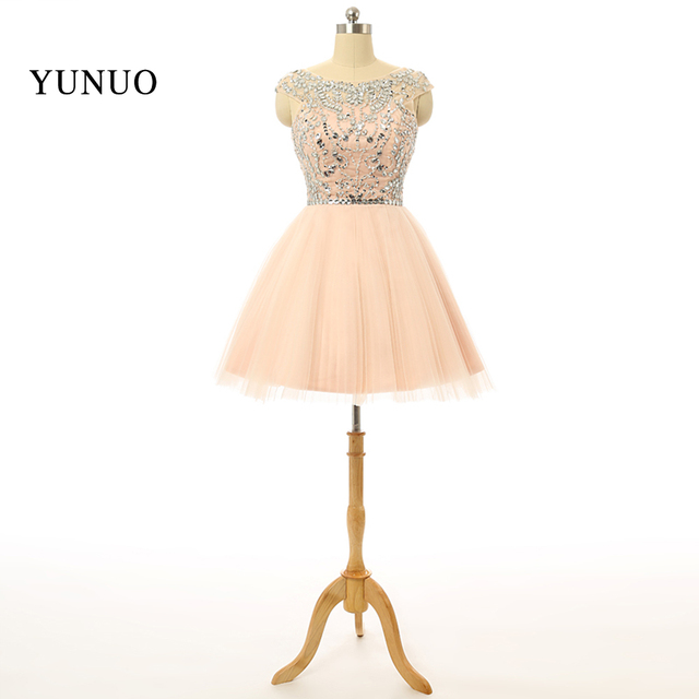 abendkleider Dresses Champagne Homecoming Dresses Mini Tulle Scoop ...