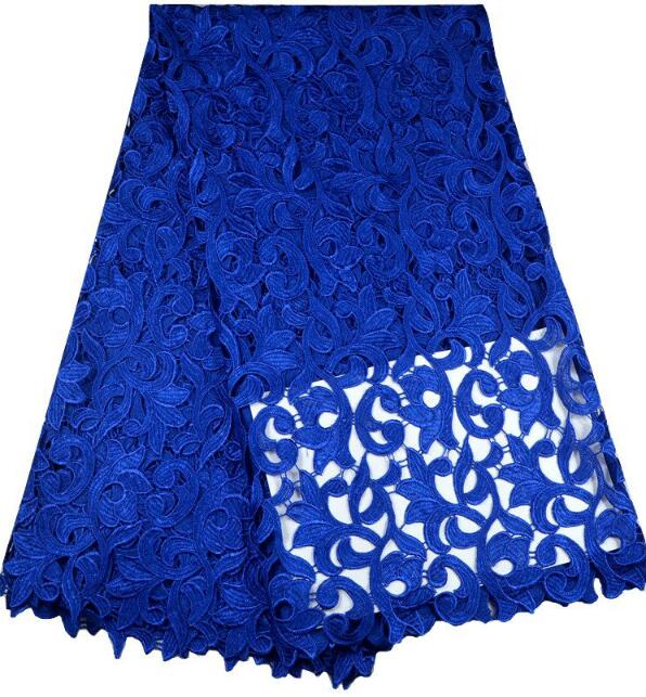 RFnew arrival free shipping Local royal blue lace fabric african cord lace chemical lace fabric for