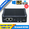 Hystou mini pc windows 10 intel nuc barebone fanless mini computador n3160 2 lan hdmi 4 k htpc tv box nano industrial mini pc vesa