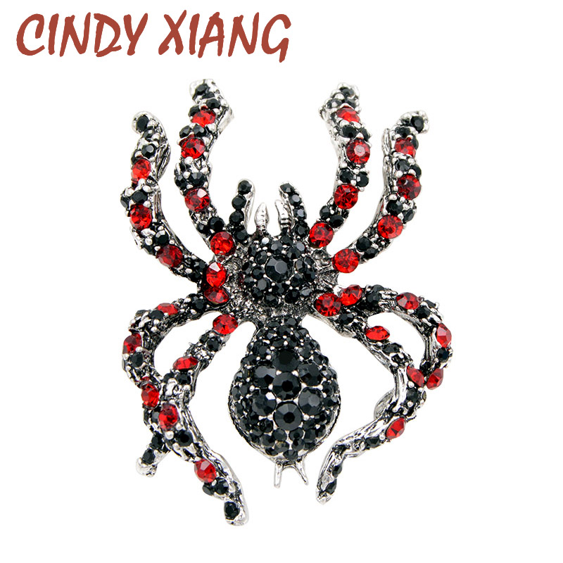 CINDY XIANG Rhinestone Spider Brocher til Kvinder Statement Insect Big Brooches Vintage Fashion Smykker Overdrevne Broche Pins