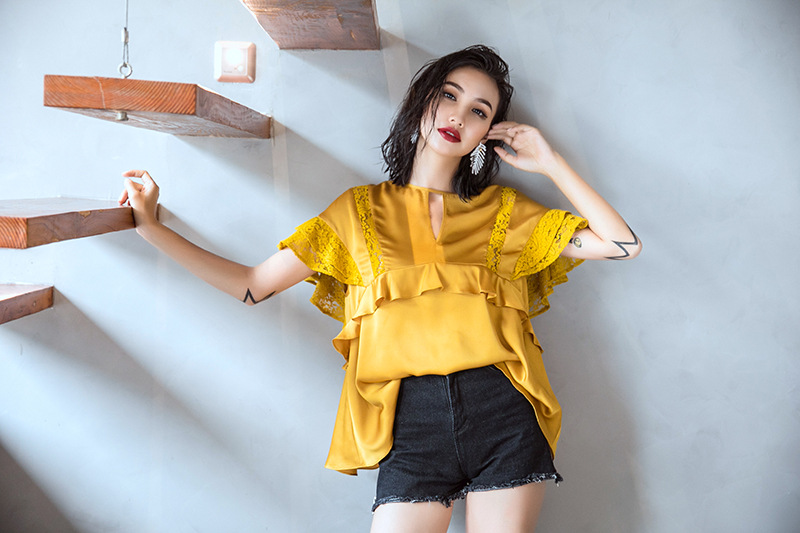 cd687c7d497e52 Cakucool New Designer Short Sleeve Women Blouse Shirt Yellow Satin Faux  Silk Top Blusa Ruffles Lace Patch Elegant Ladies Blusas-in Blouses   Shirts  from ...