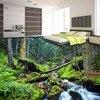 Free Shipping Flooring Moisture Proof Self Adhesive Living Room Bedroom Wallpaper Waterfalls Flowing Water Elk 3D