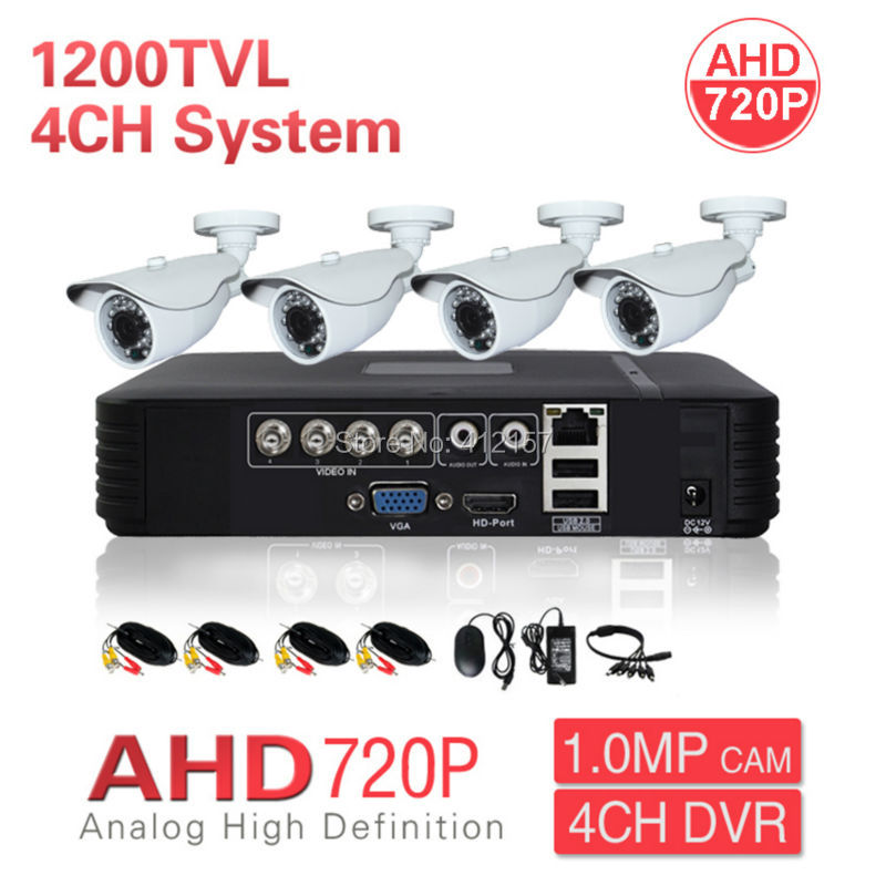 Home CCTV Outdoor 4CH HD DVR AHD 720P 1200TVL Security Camera System Color Video Surveillance Kit P2P Phone PC Mobile View IRCUT  security cctv outdoor waterrpoof 1200tvl ahd 720p camera system 4ch hdmi hybrid dvr home video surveillance kit p2p mobile view