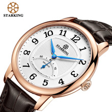 STARKING Fashion Casual Men's Wrist Watch Waterproof Leather Watchband Luxury Brand Males Quartz Clock Montres Hommes BM0980