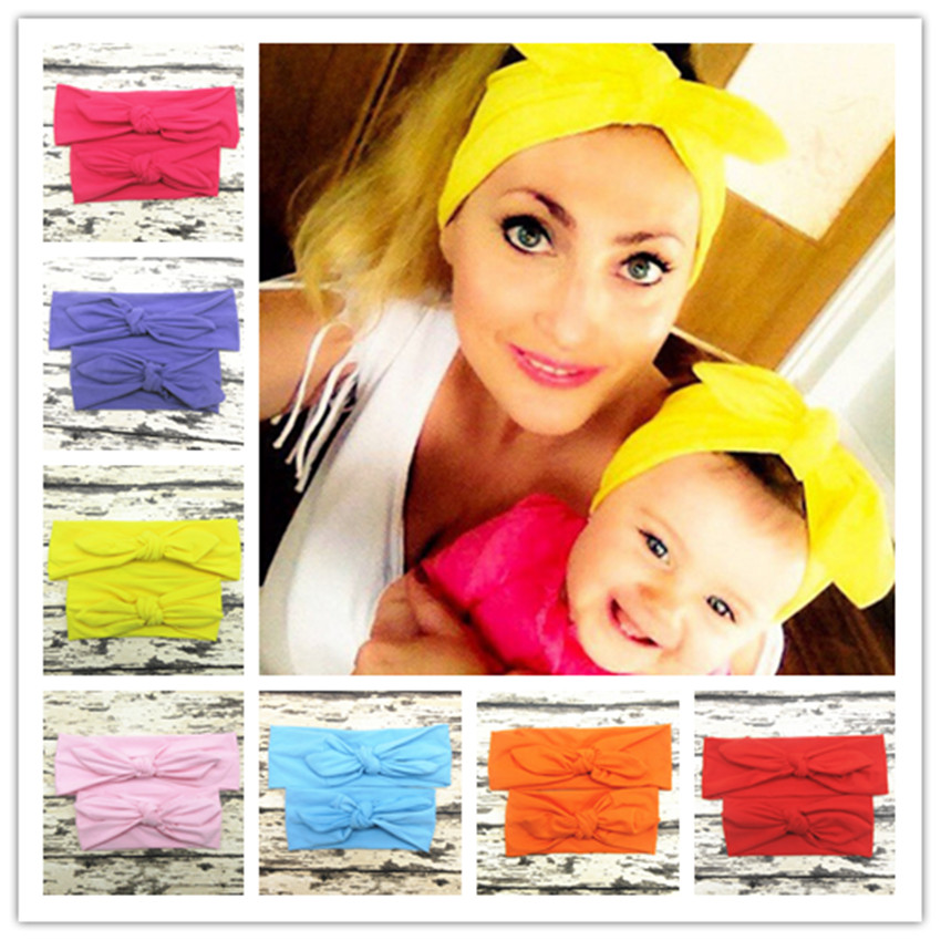 2Pcs/Set Mom And Me Baby Headbands Top Knotted Rabbit Ears Elastic Bowknot Matching Headband Mommy Newborn Hairband Accessories