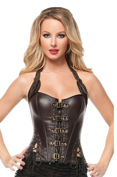 Black Steampunk   Corset   With Strap For Women Sexy Coffee Gothic   Corset   And   Bustier   Leather Overbust Outwear   Corset