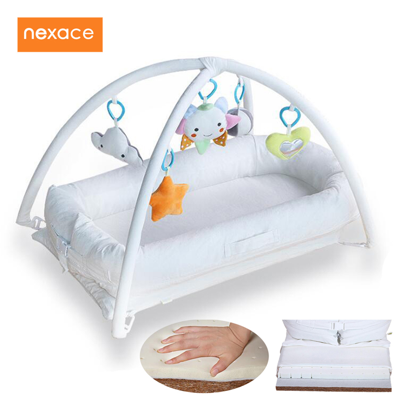 Baby Co-Sleeping Crib Musical Gym Developing Play Mattress Latex Mattress For Baby