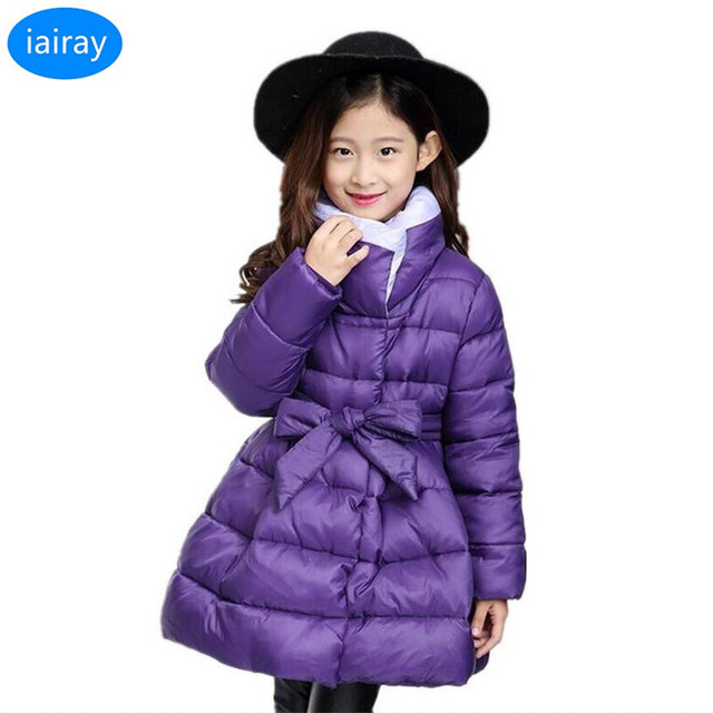 0982d748a iairay teenage girls winter purple jacket fashion girl cute bowknot ...