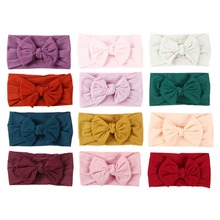 12pcs/lot Soft  Baby Bows Hair Bands Knotted Bow Baby Headband Nylon Turban Infant Hair Accessories 12 Colors JFNY069B