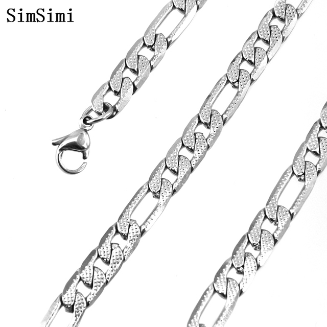 10pcs Wholesale 19.7inch Figaro Chain Necklace Stainless Steel 6mm Men's Necklace has net dot lobster clasps for Boyfriend