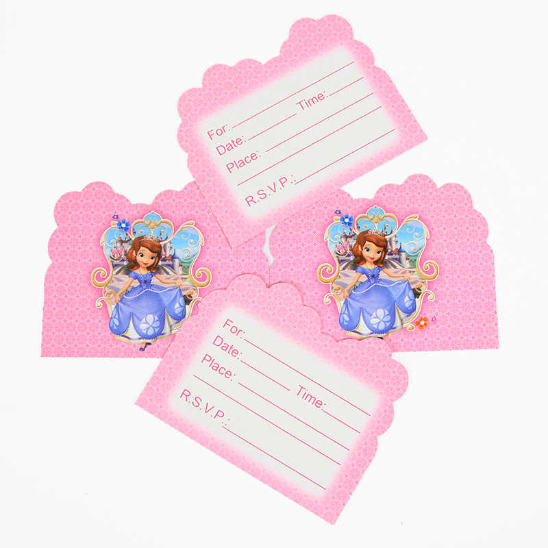 Disney Princess Sofia Theme Invitation Card 10pcs Pack Supplies For Kids Festival Children Birthday Party