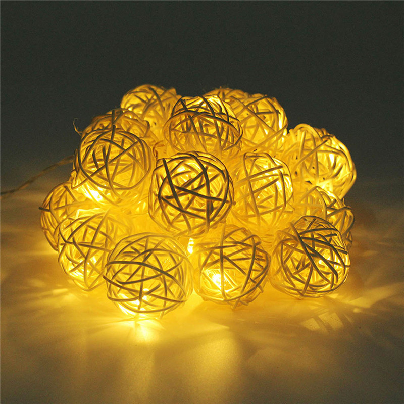 Image 4 - 2M Rattan Ball LED String Light Warm White Fairy Light Holiday Light For Party Wedding Decoration Christmas Lights Garland-in LED String from Lights & Lighting on