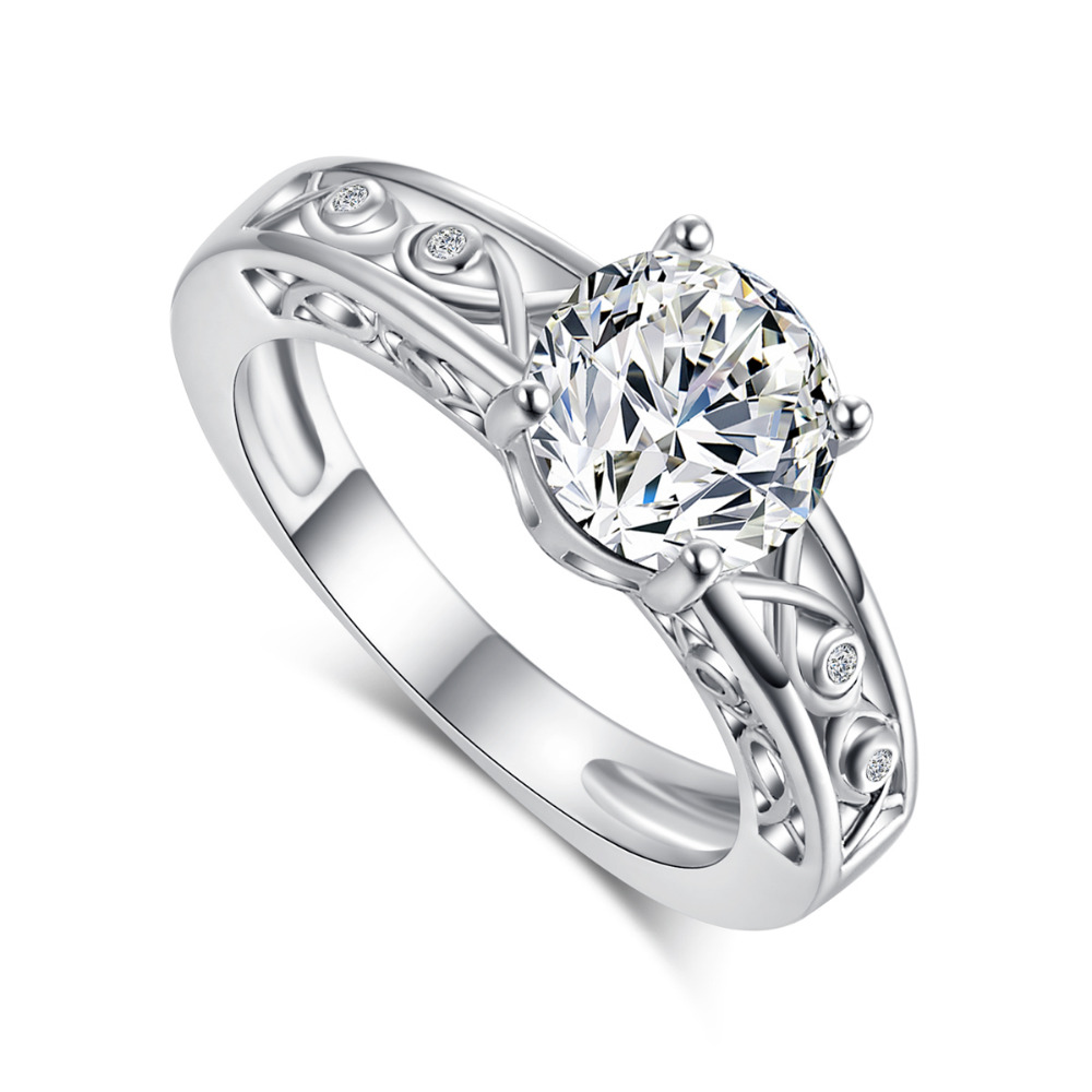 New White Vintage Cubic zircon Micro Gem stones crystal silver ring Wedding Rings For Women font