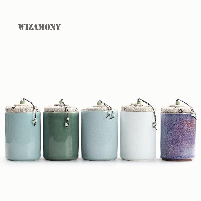 WIZAMONY 1PCS Customized Five Famous Kilns Mini Celadon Ceramics tea set Tea Caddy Tea box Canister Porcelain Jar
