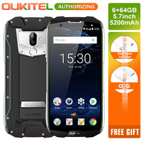 OUKITEL WP5000 5.7 Inch Octa Core 16MP+8MP IP68 Waterproof 18:9 4G Smartphones 6GB RAM 64GB ROM Helio P25 9V2A Mobile Phones