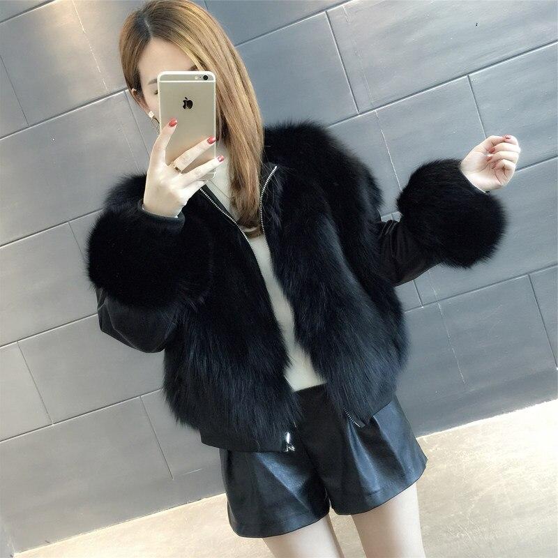 Women's Real Fox Fur Coat Double Wear Reversible Natural Fox Fur Bomber Jacket Rf0099