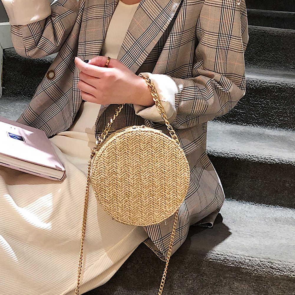 AIZHIYI saco Tecido Mulheres Verão Bolsa Rodada Bolsa de Palha saco Rattan Saco de Praia Artesanal Círculo Boemia bali bolsa feminina bolsa com zíper bolso
