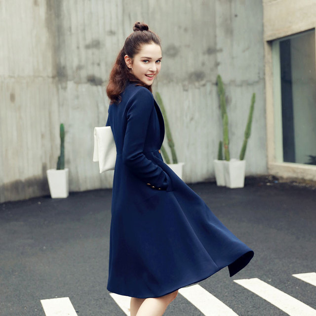 Qunitina 2017 New Fashion Trench Coat For Women Slim Long Style Full Sleeve Autumn Trench Coat Women