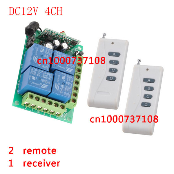 DC12V Momentary Toggle Latched RF Remote Control Switch System 4 Relay CH Wireless Receiver&Transmitter ON OFF switch new rf wireless switch wireless remote control system 2transmitter 12receiver 1ch toggle momentary latched learning code 315 433