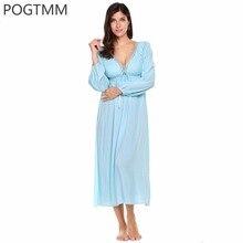 Summer Sexy Maxi Long White Nightgown Women Long Sleeve Floral Lace Elegant Sleepwear Nightwear Autumn Lady Night Sleep Dress