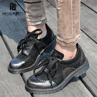 Prova Perfetto Black Retro Women Casual Platform Flat Shoes Lace Up Tenis Feminino Female Espadrilles Genuine Leather Flats