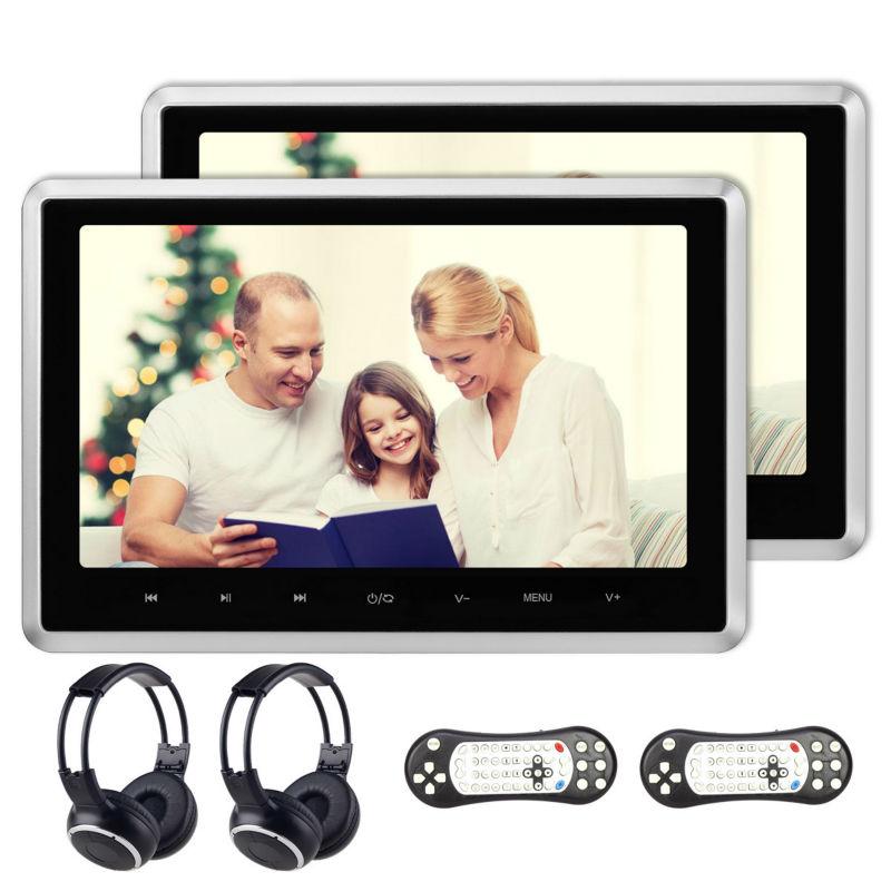 Prix pour 2x10.1 pouces HD 1024*600 TFT LCD Écran Tactile Bouton De Voiture Appui-Tête Moniteur DVD Vidéo Lecteur USB/SD/HDMI/FM IR Casque Jeu