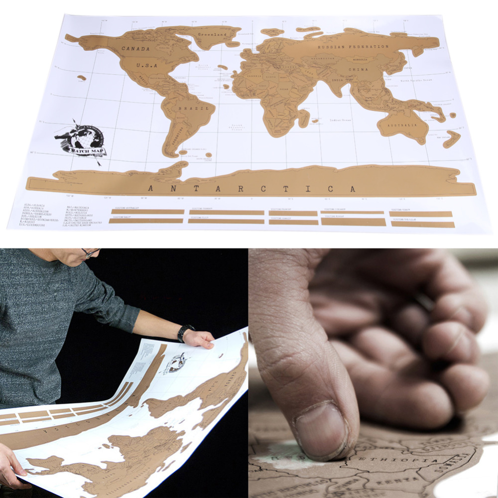 Scratch Map Travel 88 x 52cm Travel Scratch Off Map Personalized World Map Poster Traveler Vacation Log Wall Sticker Home Decor