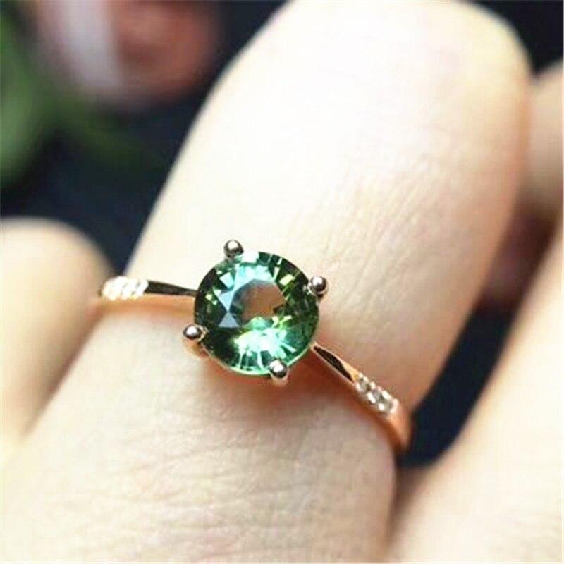 18 К Желтое золото с 100% натуральным сапфиром кольцо синий, желтый зеленый ювелирные украшения с натуральным бриллиантом