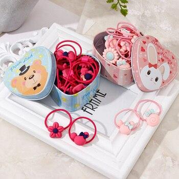 20 unids/lote nueva caja de regalo embalado chicas de dibujos animados lindo elástico para el pelo sombreros gomas bandas de goma diademas para el cabello Accesorios