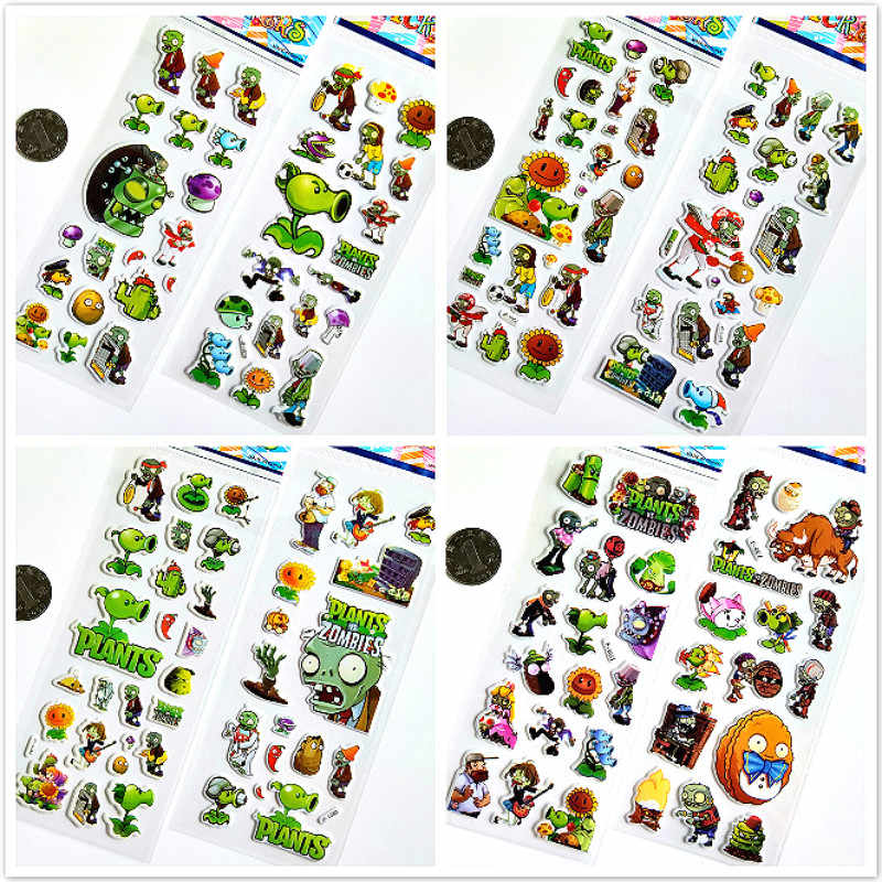3D Puffy Bubble Stickers Plants and Zombies Cartoon Princess Cat Waterpoof DIY Baby Toys for Children Kids Boy Girl