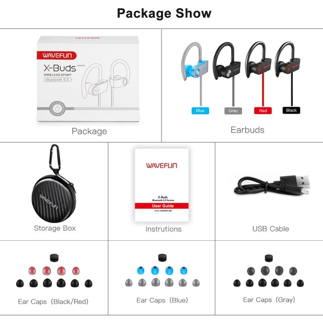 Wavefun X-Buds super bass bluetooth headphones wireless headphones bluetooth earphone IPX7 waterproof for sports phone with mic