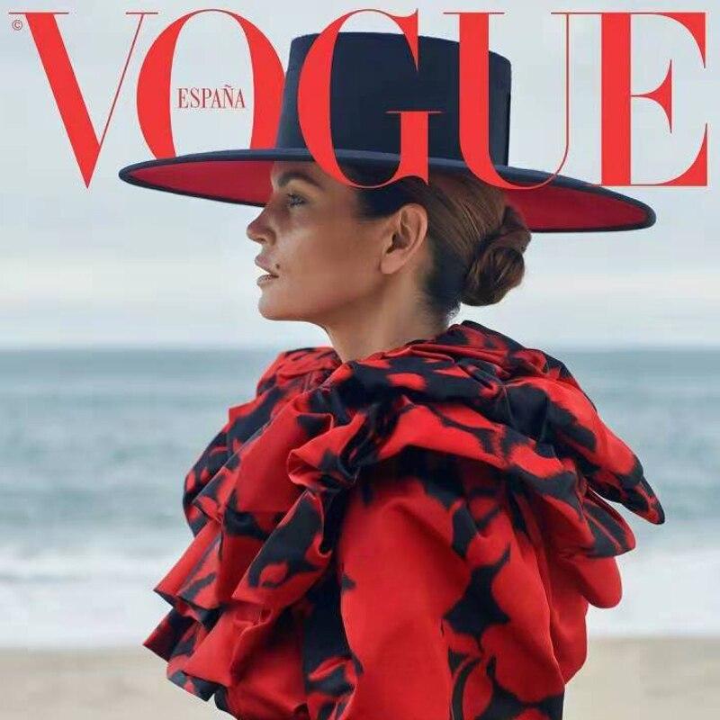 Color Matching Red Black Women Big Brim Top Flat Felt Bowler Hat Large Wave 11cm Wool