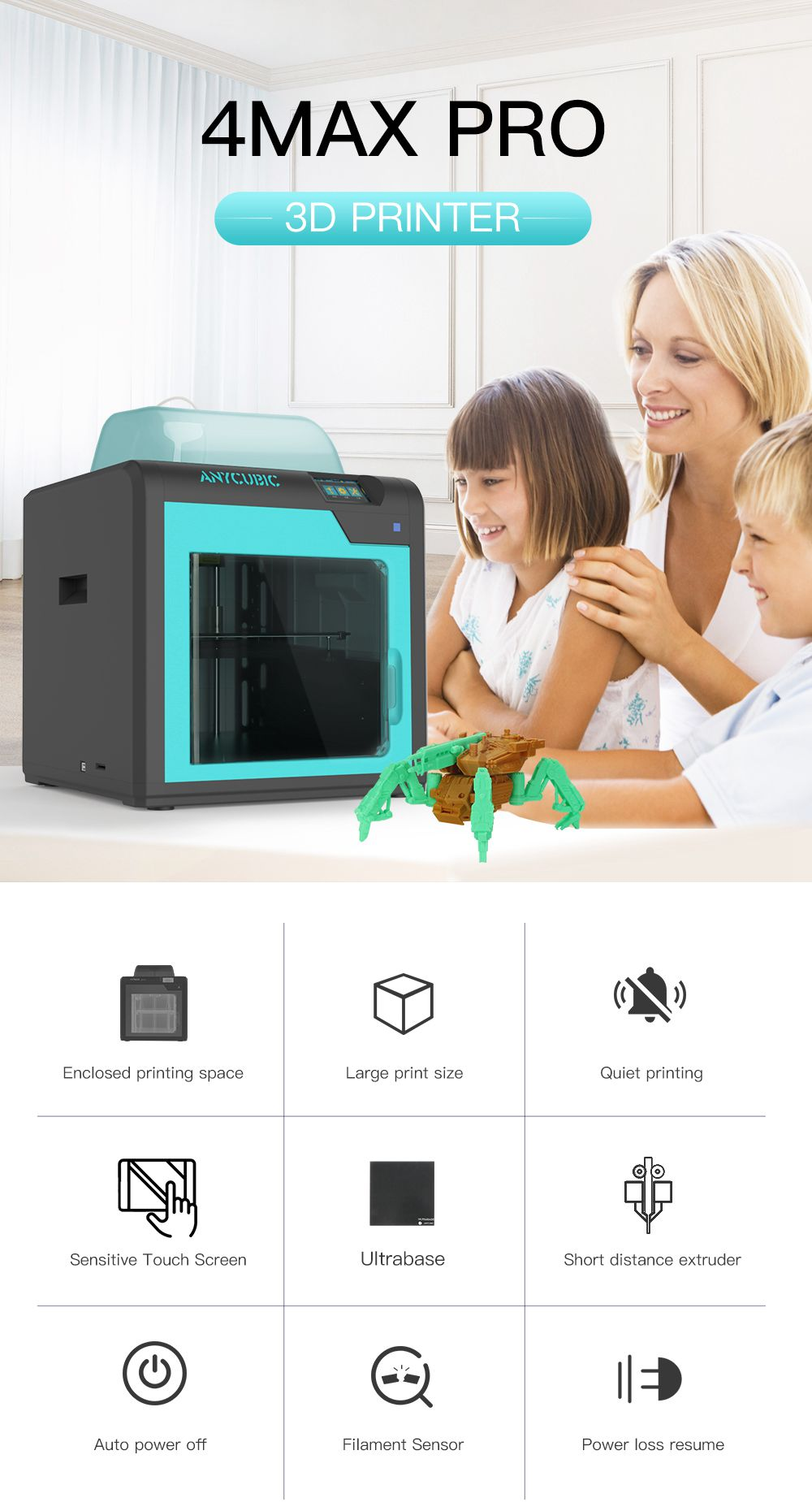 ANYCUBIC 4Max Pro Plus Size 3D Printer with Touch pad and Power Loss Resume 6