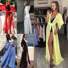 2018 Summer New Women Chiffon Beach Dress Pareo Bandage Cardigan Shirt Bikini Cover Up Swimwear See Through Women Bathing Suit(China)