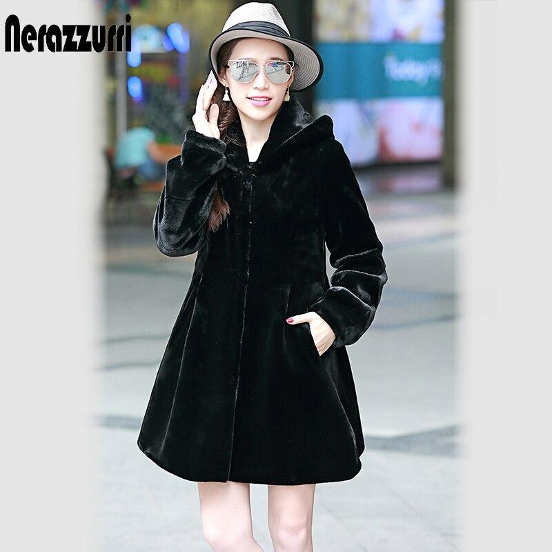 2019 Autumn Winter Womens Faux Fur Coat With Hood Long Sleeve Black Fake Rex Rabbit Fur Jacket Furry Plus size Overcoats 5XL 6XL