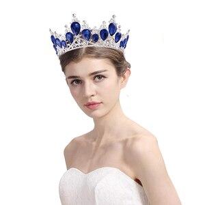 Vintage barokowy kolor kryształu Diadem panny młodej jasne złoto Diadem Diadem dla kobiet ślub panny młodej akcesoria biżuteria do włosów