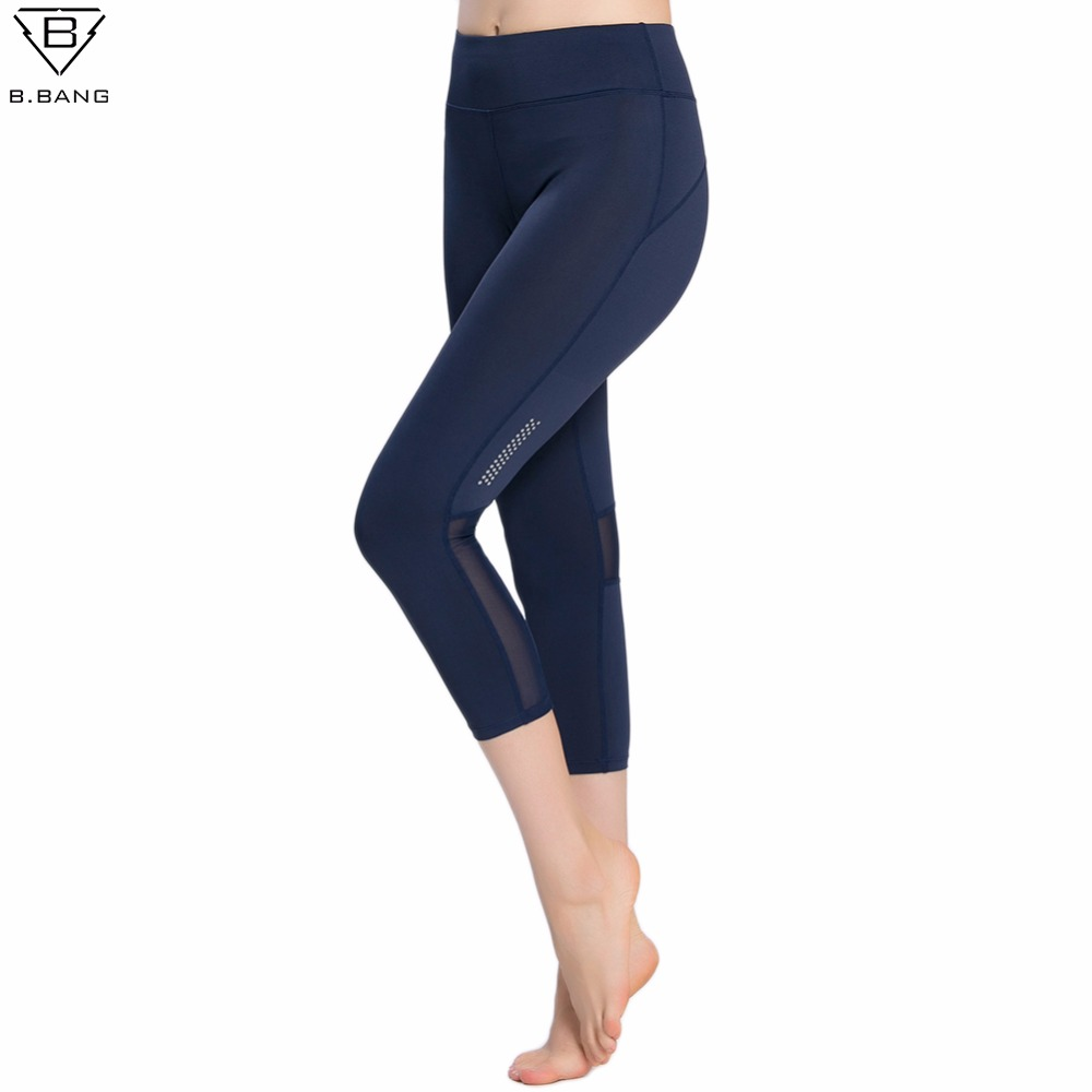 B.BANG Women Mesh Sport Leggings Fitness Yoga Pant Professional Running Tights Sportswear Sports Cropped Pant with Pocket